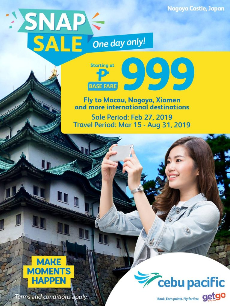 Cebu Pacific | Fly for as low as ₱999 Base Fare! ONE DAY SALE!