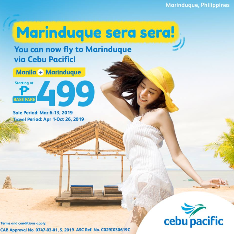 Cebu Pacific: Manila to Marinduque for as low as P699